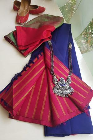 Plain blue kanchi silk saree with pink rich pallu