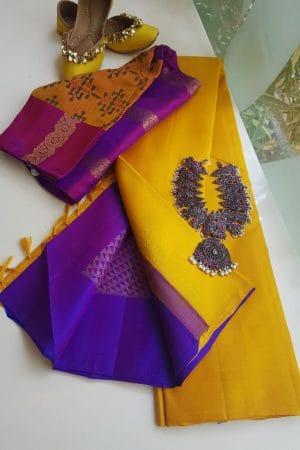 Plain kanchi silk saree with magenta rich pallu
