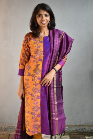 Purple and mustard kanchi silk kurta 1