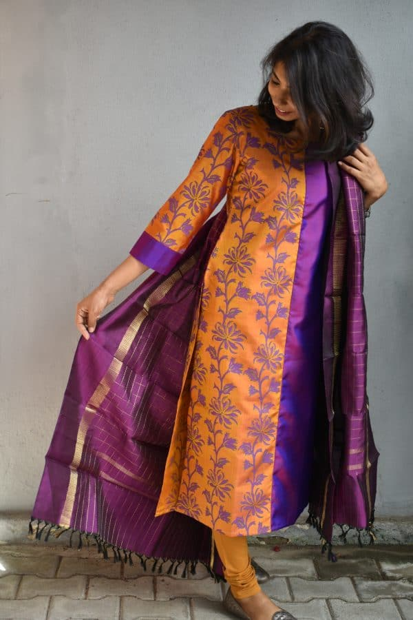 Purple and mustard kanchi silk kurta 2