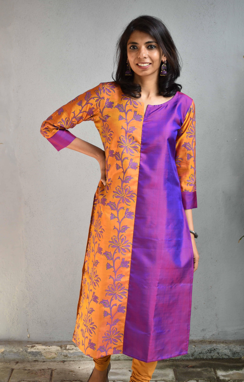Purple and mustard kanchi silk kurta