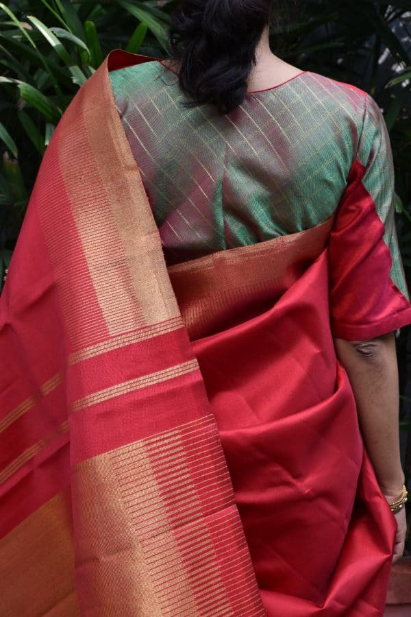 Red green kanchi silk blouse back