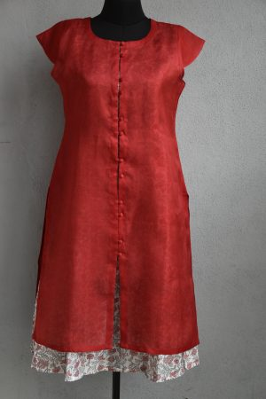 Red organza with printed chandheri layered kurta