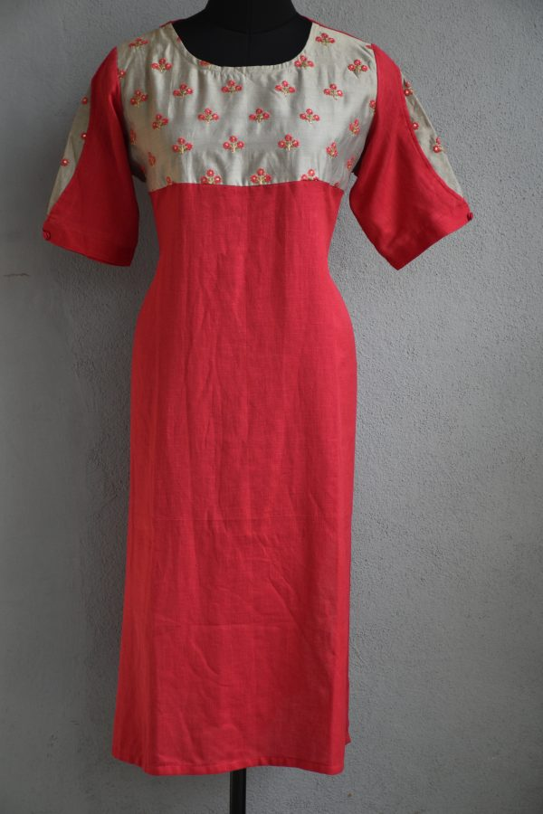 Red with grey embroidery yoke cotton kurta