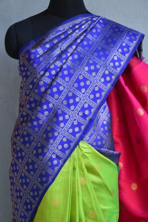 Royal blue multicolour kanchi silk saree 3