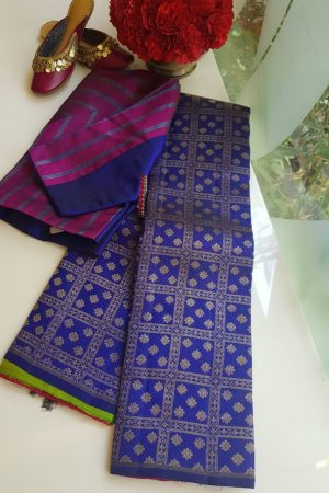 Royal blue multicolour kanchi silk saree