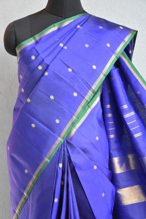 Royal blue zari butta kanchi silk saree 3