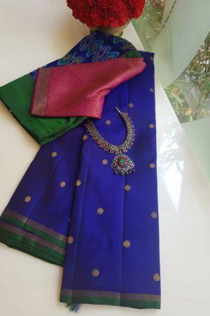 Royal blue zari butta kanchi silk saree