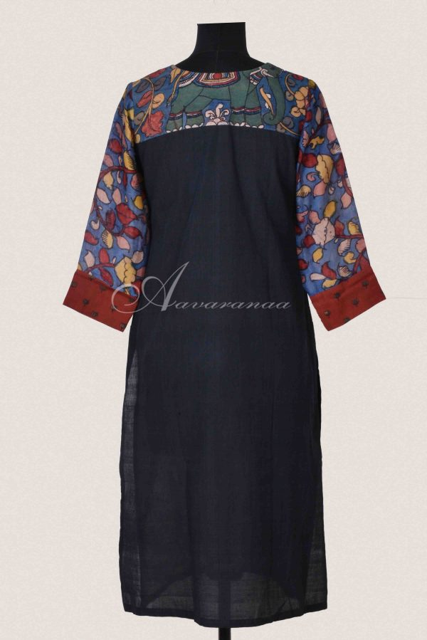 Rust ajirak with blue kalamkari cotton panel kurta (2)