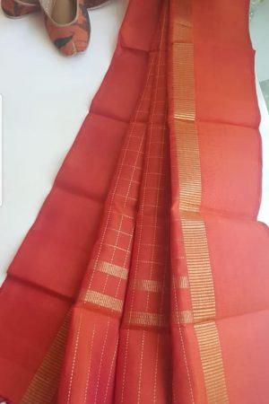 Rust orange zari checks kanchi silk dupatta