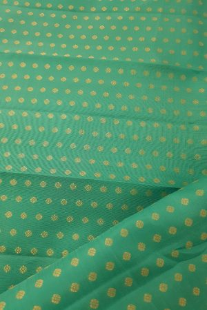 Teal green polka dots kanchi silk fabric