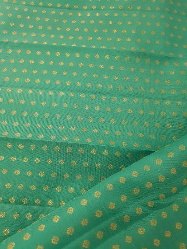 Teal green polka dots kanchi silk fabric