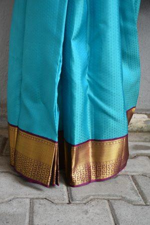 Turquoise blue kancheepuram silk saree with purple korvai border 2