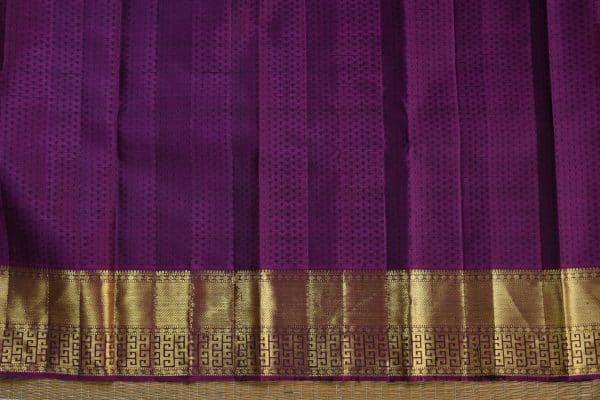 Turquoise blue kancheepuram silk saree with purple korvai border blouse