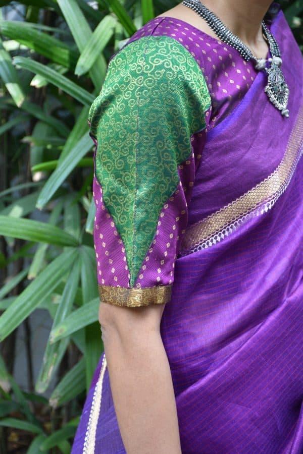 Violet green kanchi silk brocade blouse side