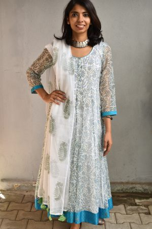 White and blue kota anarkali top and dupatta