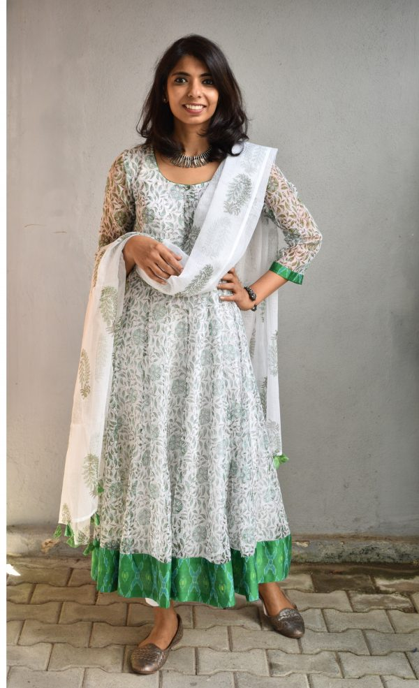 White green kota anarkali kurta and dupatta