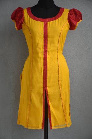 Yellow and red super net kurta