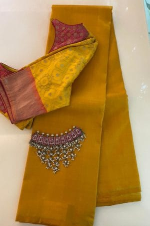 Yellow lavanyam kanchi silk saree