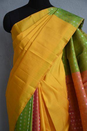 Yellow peach green partly pallu kanchi silk saree 2