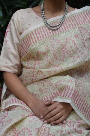 beige and pink kutch work blouse front