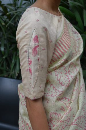 beige and pink kutch work blouse side