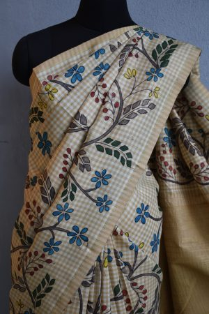 beige checks kanchi silk saree with kalamkari 3