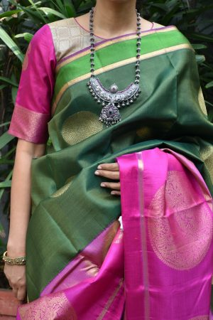 beige pink kanchi silk ready to wear blouse front