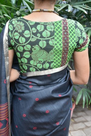 black and green kalamkari blouse back