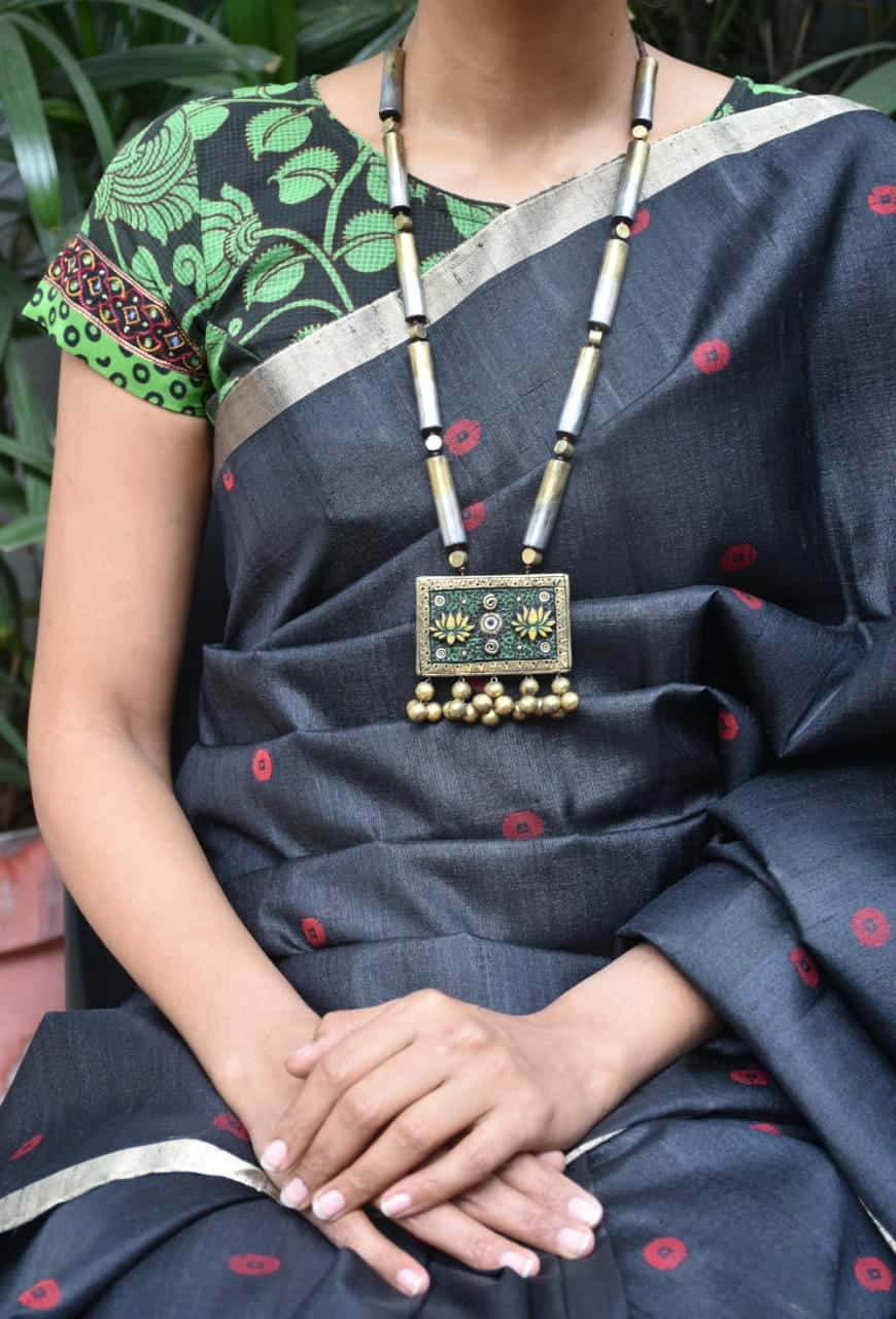 black and green kalamkari blouse front