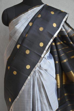 black and grey kanchi half and half saree 3