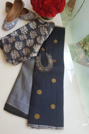 black and grey kanchi half and half saree
