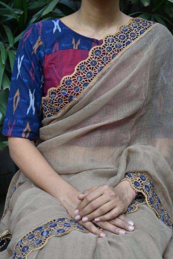 blue ikat cotton blouse front