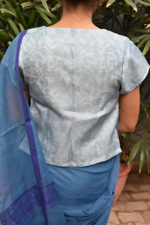 blue organza blouse with printed lining back