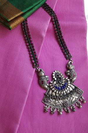 blue stone pendant chain silver