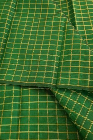 bottle green checks kanchi silk fabric