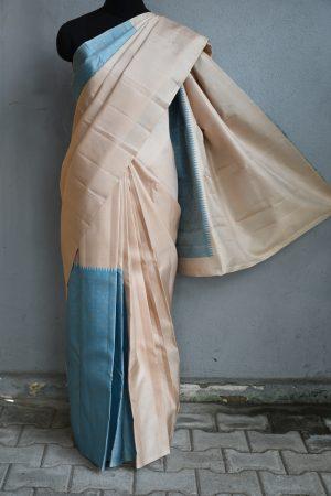 cream and blue box type kanchi silk saree 1