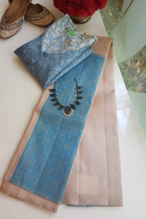 cream and blue box type kanchi silk saree