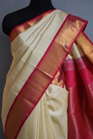 cream kanchi silk saree with pink korvai border 3
