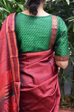 dark green jacquard kanchi silk ready to wear blouse back