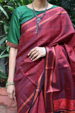 dark green jacquard kanchi silk ready to wear blouse front