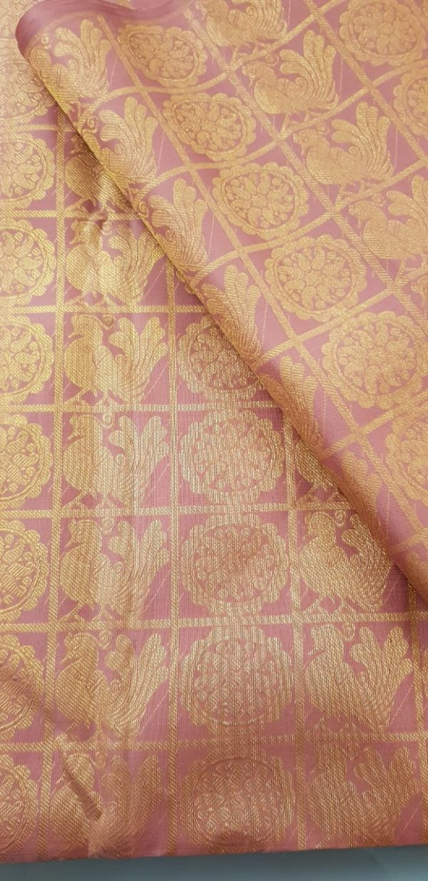 dusty pink checks silk fabric