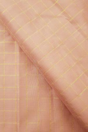 dusty pink zari checks silk fabric