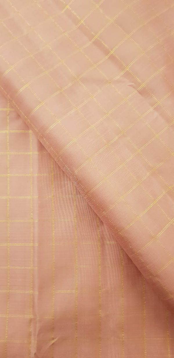 dusty pink zari checks silk fabric