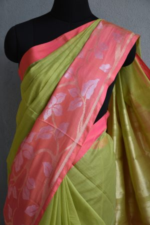 green chandheri saree with peach zari border 3
