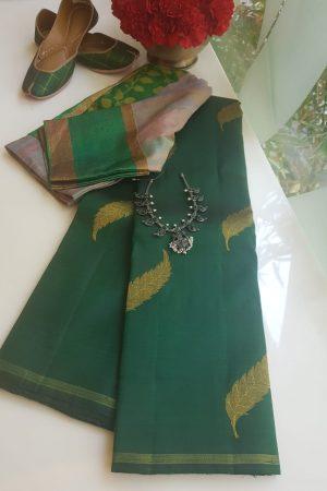 green leaf design kanchi silk saree