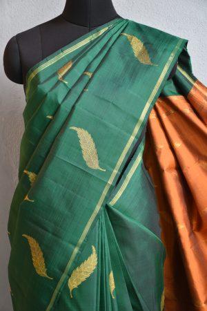 green leaf design kanchi silk saree 3
