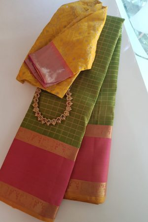 green zari checks with pink border