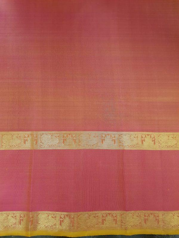 green zari checks with pink border