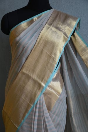 grey blue chandheri saree with zari border 3